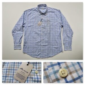Peter Millar Mens XL Crown Finish Blue Checks Long Sleeve Button Down Shirt NWT