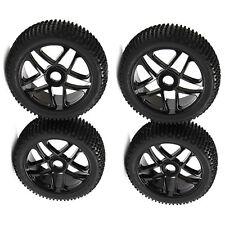 4x High Grip Rubber Tires&Pentagram Wheel Rim for RC1:8 Off Road Car Buggy Black