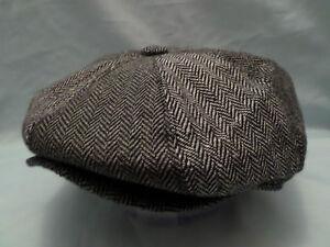 MEN,S PEAKED PEAK HAT GREY 2 TONE NEWSBOY BAKER BOY 8-PANEL 8 PIECE CAP