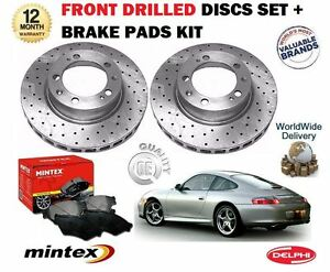 FOR PORSCHE 911 996 CARRERA 1997-->NEW FRONT DRILLED BRAKE DISCS SET AND PADS