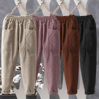 Womens Elastic Waist Corduroy Casual Loose Cargo Harem Trousers Baggy Pants Plus