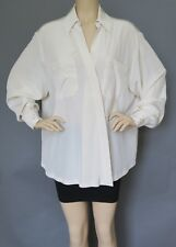 New and Authentic Sportmax by Max Mara Ivory100% Silk Blouse,Size12,MSRP $675.00