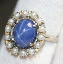Estate Ring Star of Sapphire Engagement Ring with with Bead Pearls size 11.5
