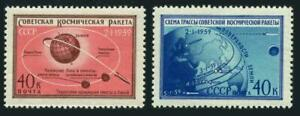 Russia 2187-2188,hinged.Mi 2219-2220. Luna 1,launched 01.02.1959.Globe,Route.