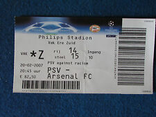 PSV Eindhoven v Arsenal - Champions League - 20/2/2007 - Ticket