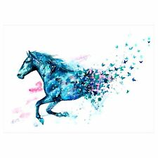 Watercolour Temporary Tattoo Stickers Body Art Waterproof Blue Horse Butterfly