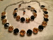 Swarovski Crystal Elements Black & Gold Bracelet Necklace 12mm Steelers Pirates