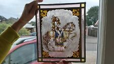 More details for rare antique arts and crafts hand painted/stained glass panel of lady godiva