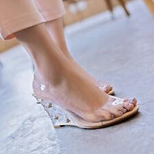 Womens Clear Wedge High Heels Platform Rivets Sandals Peep Toe Slip On Shoes Sz
