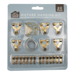 PICTURE HANGING 60 PIECE KIT FRAME WALL HOOKS WIRE NAILS UK HANG FRAME
