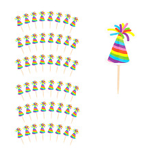Festive Party Time Christmas Cocktail Stick Toppers - Party Hat (48 Pack)