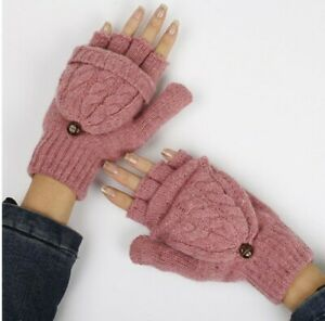 Women Girl Warm Winter Fingerless Gloves Flip Twist Gloves Mittens