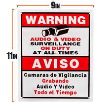 SECURITY SIGN BOARD AUDIO VIDEO SURVEILLANCE CAMERA SIGN ENGLISH&SPANISH CCTV