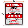 SECURITY SIGN BOARD AUDIO VIDEO SURVEILLANCE CAMERA SIGN ENGLISH&SPANISH CCTV