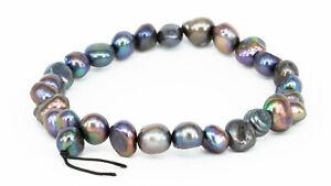 echte Perlen Armband Süßwasserzuchtperlen Zuchtperlen Armband Damen 18cm petrol