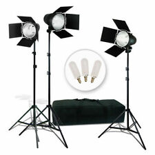 3 Pcs Photo Video Studio Continuous Light Lighting Kit, Studio Barn Door Lights