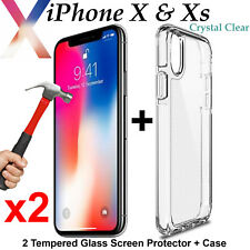 Apple iPhone X Xs clear case cover & x2 9H Tempered Glass front screen protector