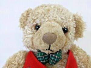 "Hallmark Sitting Teddy Bear 10"" Tan Stuffed Plush Red Vest Bow Tie Christmas Toy"