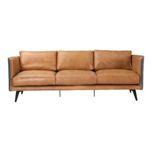 """83"""" W Sofa Top Grain Leather Fabric Wrapped Frame Solid Iron Legs Modern"""