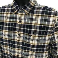 American Eagle Flannel Shirt Mens Medium Blue Yellow Plaid Long Sleeve PREP FIT