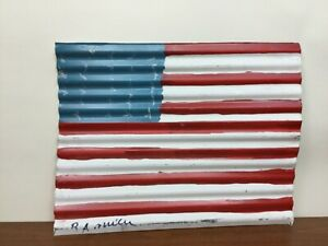 R.A. Miller Painted Metal Flag Outsider Folk Art Corrugated tin
