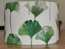 NEW HANDMADE LAMPSHADE - Camalliro Green Leaf Print on Cream Cotton Fabric