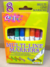 Multi-Line Markers Pens - Brown, Black, Green, Blue, Yellow, Red, Orange, Purple