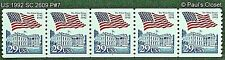 US SC 2609 PLATE # 7 COIL STRIP OF 5 29¢ MNH OG TAGGED 1992 PERF 10 V. VERY FINE