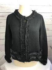 Chicos Womens Fancy Fur Cardigan Sweater Size 1 Black Button Front Ruffles