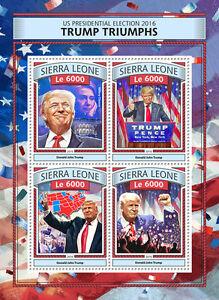 Sierra Leone Donald Trump Stamps 2016 MNH Triumphs US Elections Clinton 4v M/S