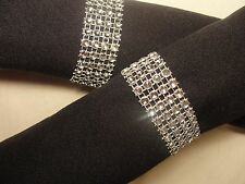 100 SILVER BLING RHINESTONE NAPKIN RING DIAMOND HOLDER 4 ROW BRIDAL SHOWER PARTY