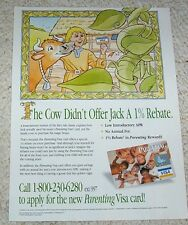 1997 ad page - Visa credit card Fairy Tale Jack Beanstalk cow cute print Advert