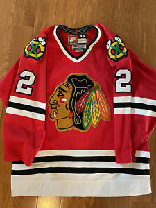 Authentic Nike Chicago Blackhawks Rob Brown #2 Red Home Jersey Size 44 NWOT