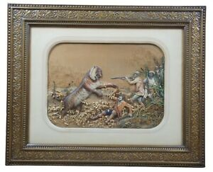 "Antique Francois Grenier Mixed Media 3D ""Tiger Hunt"" Collage La Chasse au Tigre"