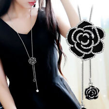 """Camellia Black Flower With Crystals, Long Adjustable Necklace, 36"""" length, USA"""