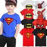 bambini da MANICA CORTA T-SHIRT BATMAN SUPERMAN SPIDERMAN MAGLIETTA VESTITI