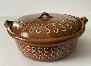 Rustic Old Mexican Pottery LG Pot With Lid Red Clay Mexican Folk Art Beans Rice