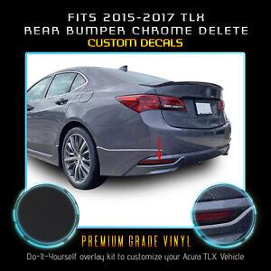 For 15-20 Acura TLX Rear Bumper Reflector Chrome Delete Decal Matte Black Vinyl