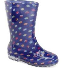 Toms Pointillée Pattern Blue Kids Wellington Bottes-Taille Junior 5