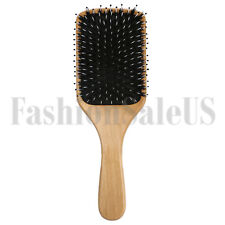 Fashion Wood Natural Boar Bristle Hair Brush Wooden Paddle Cushion Hairbrush