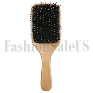Fashion Wood Natural Boar Bristle Hair Brush Wooden Paddle Cushion Hairbrush