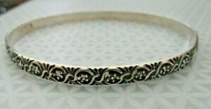 Vintage Signed Sterling Danecraft Intricate Design Bangle Bracelet 9.5 grams