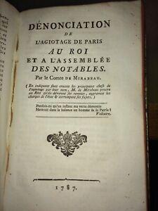 MIRABEAU.DÉNONCIATION DE L'AGIOTAGE DE PARIS.1787.