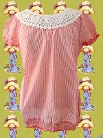 G40✪ Boho Hippie Tunika Bluse Country Style Spitze Häkelbesatz rot weiß Gr 42