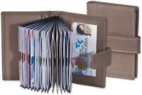 Platino Kreditkartenetui in Grau mit verstärkten Fächern aus feinem Leder