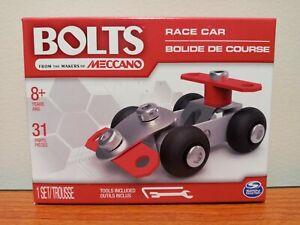 "NEW Meccano BOLTS Steel ""RACE CAR"" Building Construction Kit - 31pcs - w/ Tools"