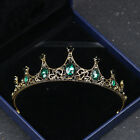 Vintage Wedding Bridal Baroque Green Crystal Pageant Queen Headband Crown Tiara