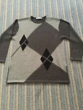 Jacques Vert Women's Black Grey Diamond Pattern Jumper Size XL