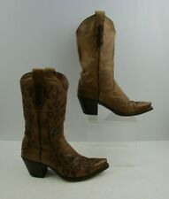 Ladies Dan Post Brown Leather Western Cowgirl Boots Size: 6.5 M