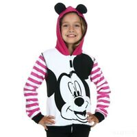 Girls Mickey Mouse Stripe Sleeve Pink and Black Hoodie SIZE SMALL 7-8